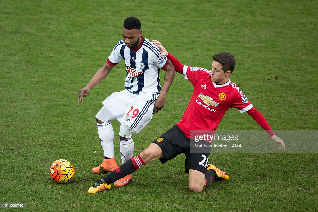 Stephane Sessegnon of West Bromwich Albion is tackled by <a gi-track='captionPersonalityLinkClicked' href=/galleries/search?phrase=Ander+Herrera&family=editorial&specificpeople=6331880 ng-click='$event.stopPropagation()'>Ander Herrera</a> of Manchester United during the Barclays Premier League match between West Bromwich Albion and Manchester United at The Hawthorns on March 6, 2016 in West Bromwich, England.