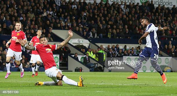 Stephane Sessegnon of West Bromwich Albion scores their first goal during the Barclays Premier League match between West Bromwich Albion and...