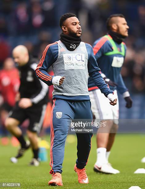 Stephane Sessegnon of West Bromwich Albion warms up prior to the Barclays Premier League match between West Bromwich Albion and Manchester United at...