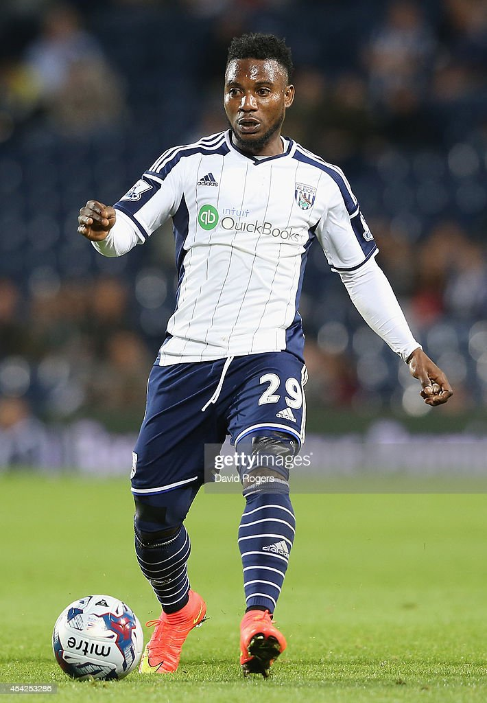 Stephane Sessegnon of West Bromwich runs with the ball during the Capital One Cup second round match between West Bromwich Albion and Oxford United at The Hawthorns on August 26, 2014 in West Bromwich, England.