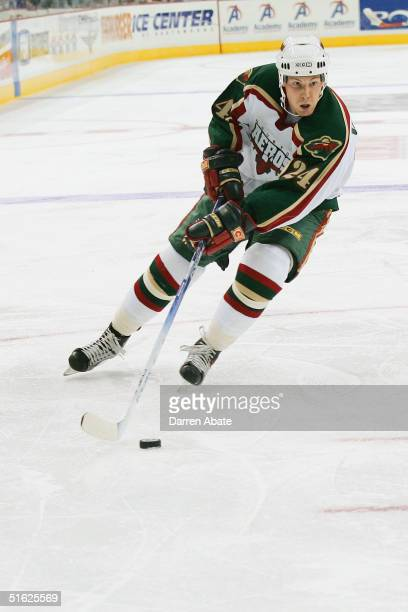 Stephane Veilleux of the Houston Aeros drives to the net on his backhand during an AHL game against the San Antonio Rampage at the SBC Center San...