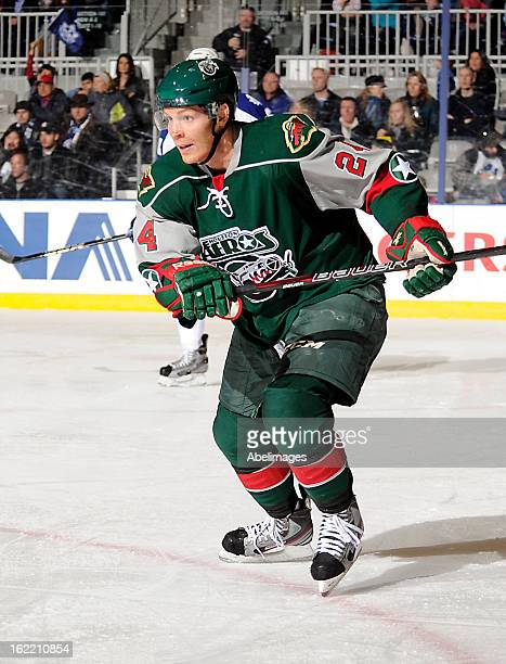 Stephane Veilleux of the Houston Aeros skates up ice against the Toronto Marlies during AHL game action February 18 2013 at Ricoh Coliseum in Toronto...
