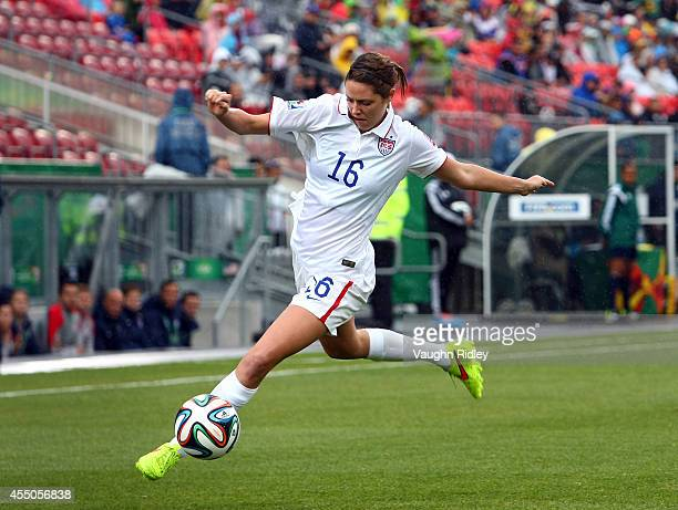 Stephanie Amack of the United States in action against Korea DPR during the FIFA U20 Women's World Cup Canada 2014 Quarter Final match between Korea...