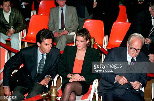 Stephanie and his friend JeanYves le Fur with Prince Rainier at a boxing match In Monaco On April 14 1990