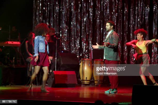 Stephanie Ballena and Jon Huertas perform onstage at National Breast Cancer Coalition Fund's 17th Annual Les Girls Cabaret at Avalon Hollywood on...