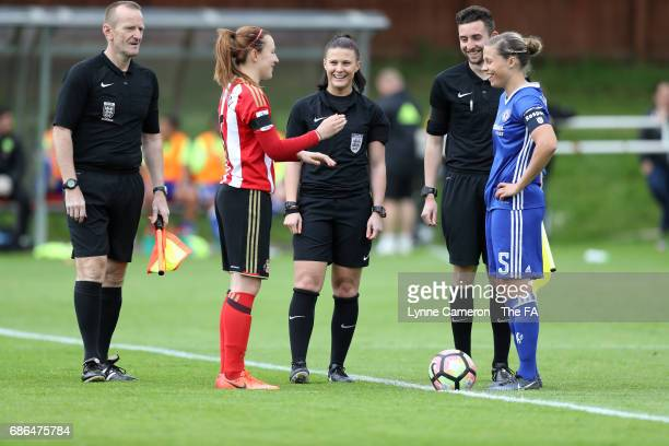 Stephanie Bannon of Sunderland Ladies and Gilly Flaherty of Chelsea Ladies toss the coin before the WSL 1 match between Sunderland AFC Ladies and...