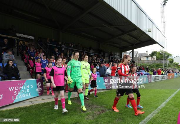 Stephanie Bannon of Sunderland Ladies leads out the teams before the WSL 1 match between Sunderland AFC Ladies and Chelsea Ladies FC at Hetton Centre...