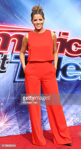 Stephanie Bauer arrives at NBC's 'America's Got Talent' Season 11 kickoff event held at Pasadena Civic Auditorium on March 3 2016 in Pasadena...
