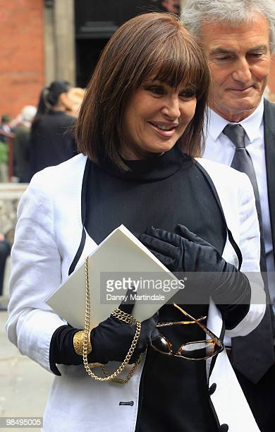 Stephanie Beacham attends the funeral of Christopher Cazenove held at St Paul's Church in Covent Garden on April 16 2010 in London England