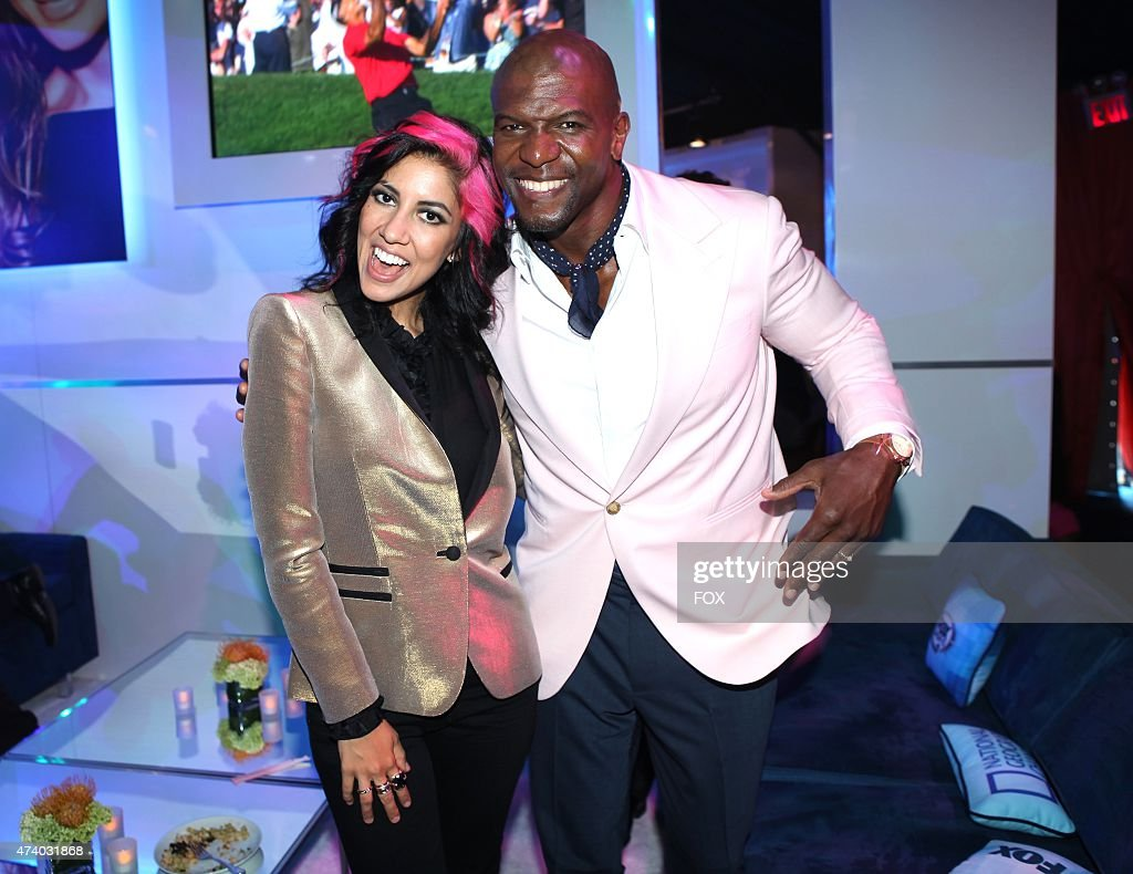 Stephanie Beatriz and Terry Crews celebrate during the FOX ALL STAR PARTY on Monday May 11 2015 at The Stone Rose in New York
