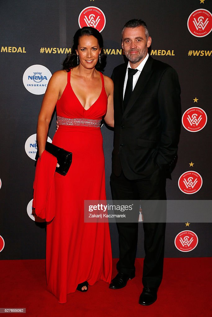 Stephanie Brantz and Simon Hill arrives during the 2016 Western Sydney Wanderers Awards at Qudos Bank Arena on May 3, 2016 in Sydney, Australia.