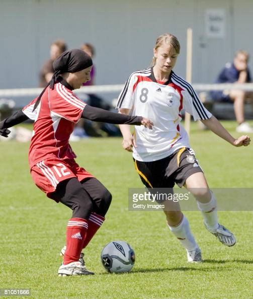 Stephanie Breitner of Germany and Zenab ElKhatib of Denmark fight for the ball during the U16 women international friendly match between Denmark and...