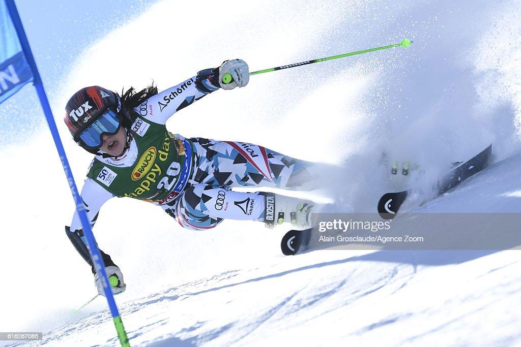 Stephanie Brunner of Austria in action during the Audi FIS Alpine Ski World Cup Women's Giant Slalom on October 22, 2016 in Soelden, Austria