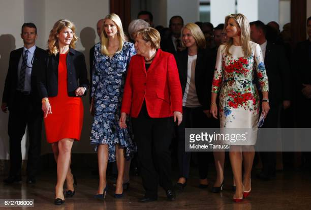 Stephanie Bschorr President of the Association of German Women Entrepreneurs Ivanka Trump daughter of US President Donald Trump Angela Merkel Federal...