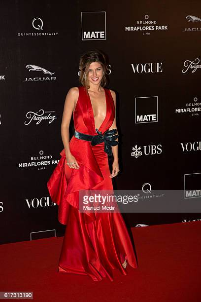 Stephanie Cayo poses during Gala MATE 2016 for the inauguration of new display spaces and exhibitions at MATE on October 22 2016 in Lima Peru A...