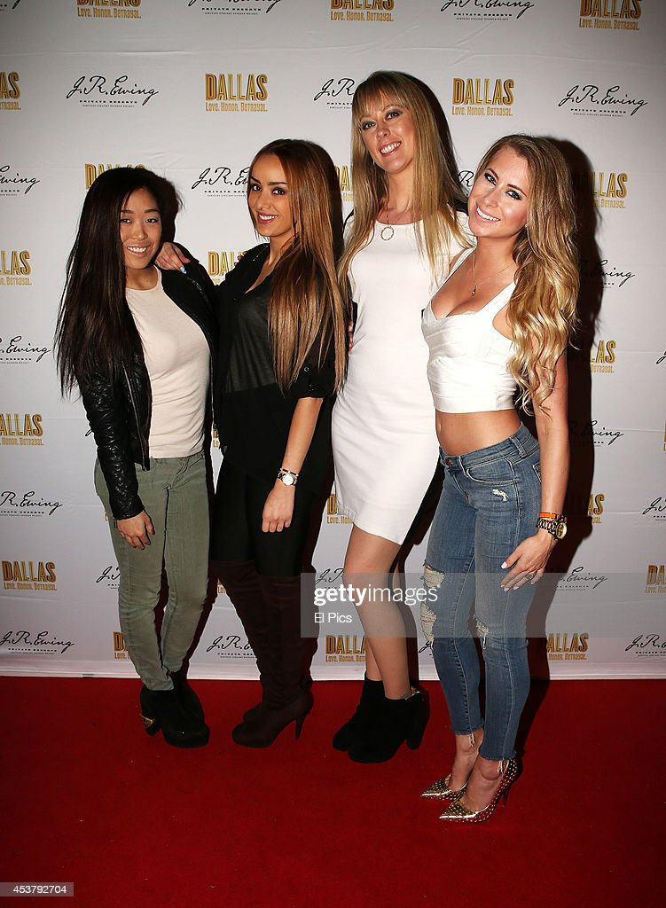Stephanie Cheah, Nichelle Claire, Julianna Wisniewski and Elle Creagh attend the J.R. Ewing Bourbon's Launch Party on August 18, 2014 in Sydney, Australia.