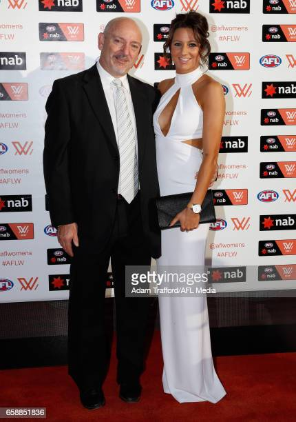 Stephanie Chiocci of the Magpies arrives with family during the The W Awards at the Peninsula on March 28 2017 in Melbourne Australia