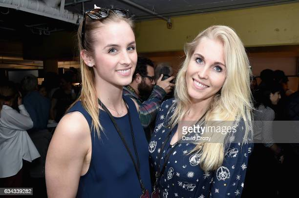 Stephanie Clarke and Fleur van Sehaik attends the Tommy Hilfiger Spring 2017 Women's Runway Show Backstage at Windward Plaza on February 8 2017 in...