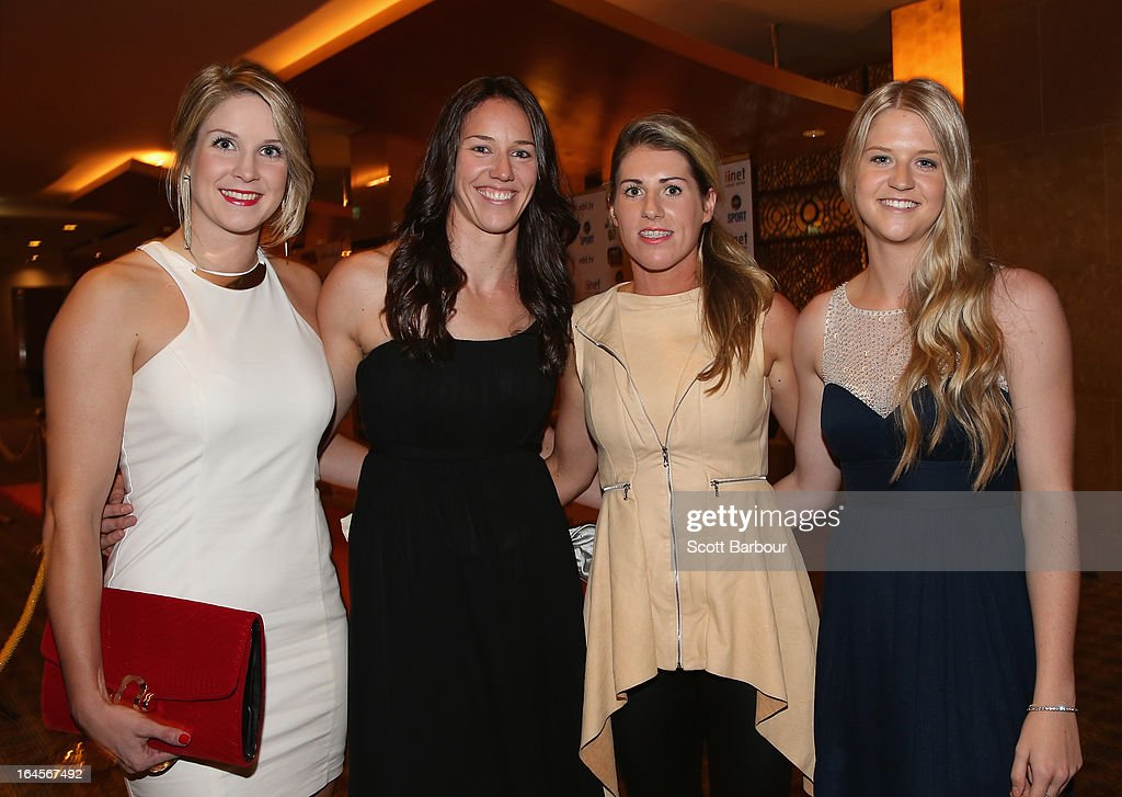 Stephanie Cumming, Alison Downie, Kathleen Macleod and Aimee Clydesdale of the Dandenong Rangers attend the 2013 Basketball Australia MVP Awards at Crown Palladium on March 24, 2013 in Melbourne, Australia.