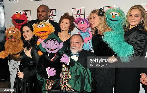 Stephanie D'Abruzzo Kevin Clash Fran Brill Jerry Nelson Leslie CarraraRudolph and Carmen Osbahr of Sesame Street attend the 2010 AFTRA AMEE Awards at...