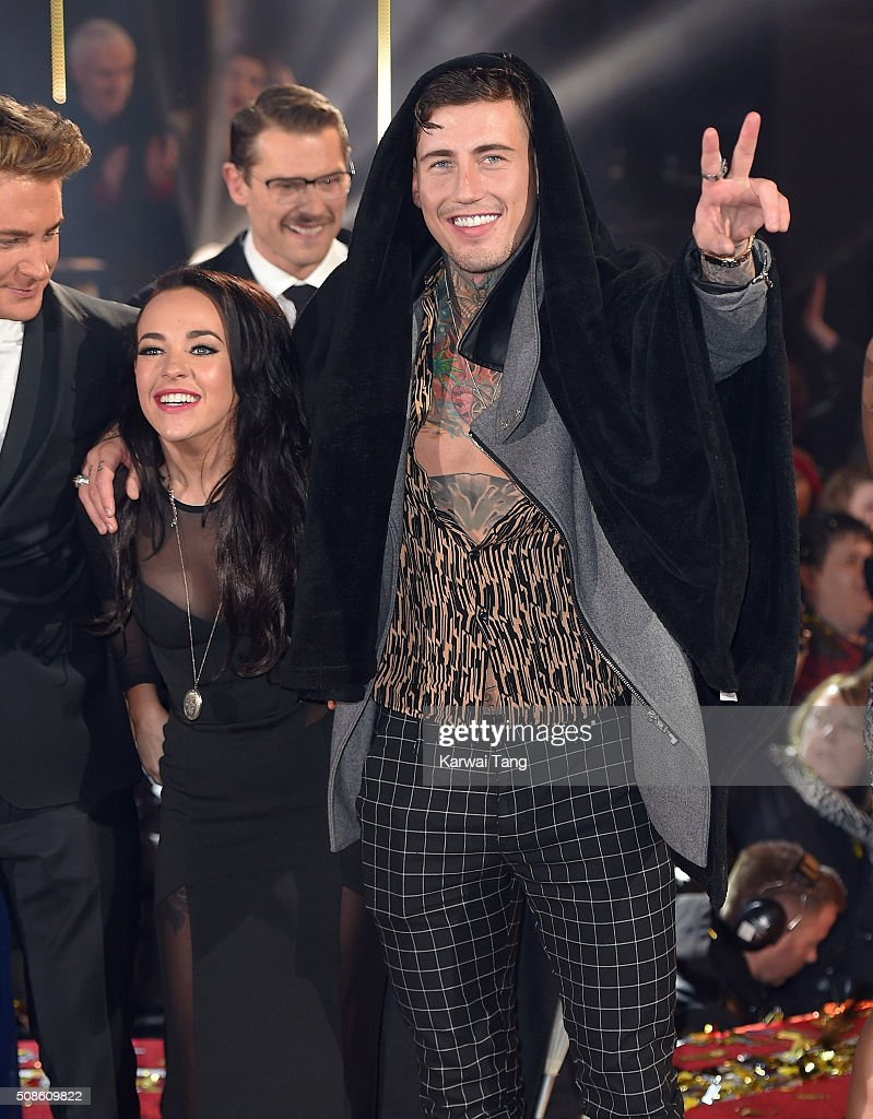Stephanie Davis and Jeremy McConnell at the final of Celebrity Big Brother at Elstree Studios on February 5, 2016 in Borehamwood, England.