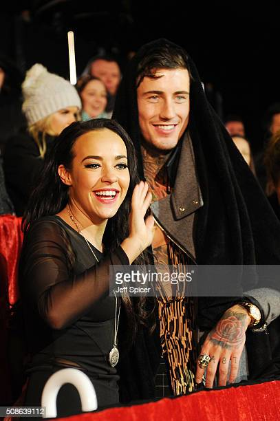 Stephanie Davis and Jeremy McConnell at the final of Celebrity Big Brother at Elstree Studios on February 5 2016 in Borehamwood England