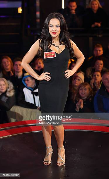 Stephanie Davis enters the Celebrity Big Brother House at Elstree Studios on January 5 2016 in Borehamwood England