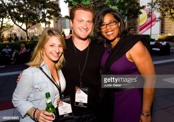 Stephanie Davis Eric Solomon and Darrien Gipson attend the SAGWGA Party during the 2014 Los Angeles Film Festival at Target Terrace Lounge on June 17...