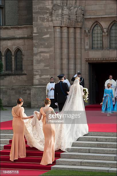 Stephanie de Lannoy enters the Cathedral before her wedding ceremony to Prince Guillaume Of Luxembourg at the Cathedral of our Lady of Luxembourg on...