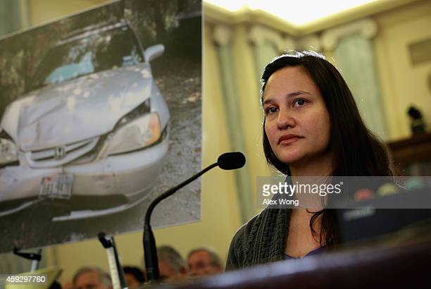 Stephanie Erdman of Destin Florida who was seriously injured by the airbag explosion in her Honda Civic during a traffic accident last year testifies...