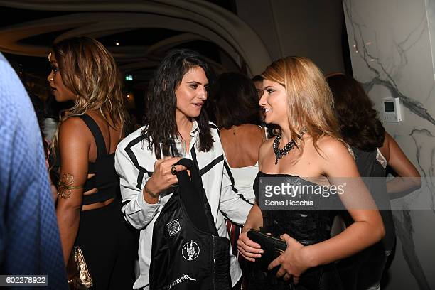 Stephanie Fabrizi and Elise Bauman attend the film premiere after party for Serendipity Point Films' 'Below Her Mouth' at Supper Suite by STK on...