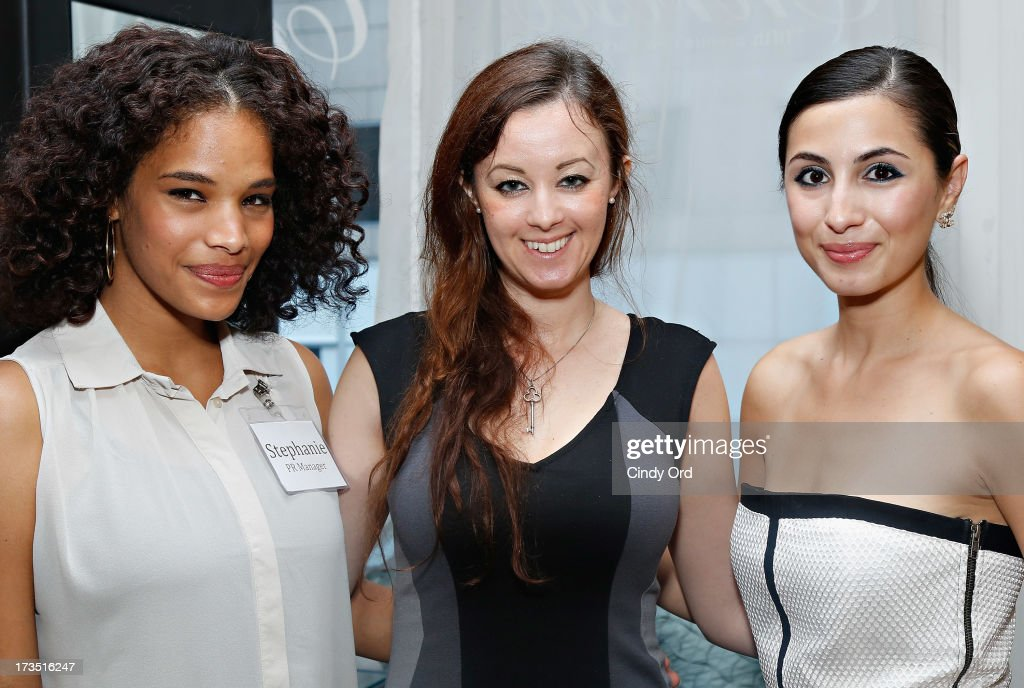 Stephanie Garcia, Stephanie Nikolopoulis and Maria Pardalis attend the Christo Men NYC Press Preview at Christo Fifth Ave on July 15, 2013 in New York City.