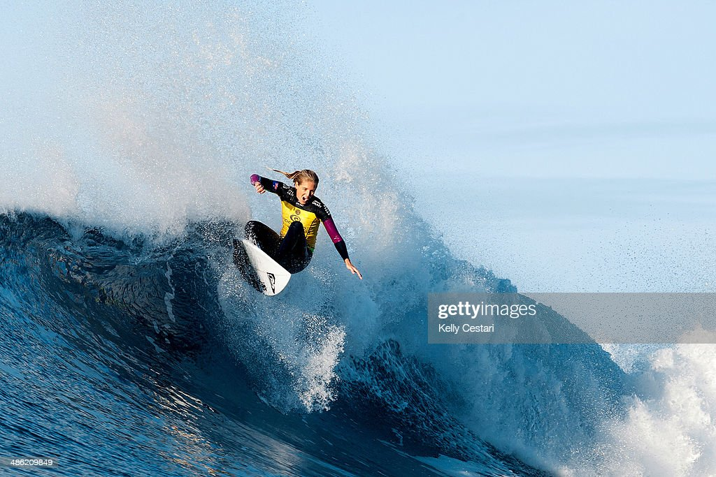 <a gi-track='captionPersonalityLinkClicked' href=/galleries/search?phrase=Stephanie+Gilmore&family=editorial&specificpeople=761948 ng-click='$event.stopPropagation()'>Stephanie Gilmore</a> of Australia placed equal 3rd in the Womens Ripcurl Pro Bells Beach on April 23, 2014 in Bells Beach, Australia.