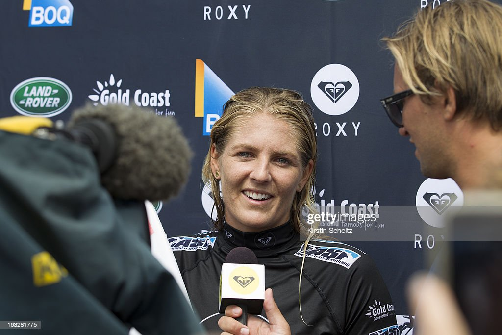 <a gi-track='captionPersonalityLinkClicked' href=/galleries/search?phrase=Stephanie+Gilmore&family=editorial&specificpeople=761948 ng-click='$event.stopPropagation()'>Stephanie Gilmore</a> of Australia talks to the press after winning her quarterfinal heat during the Roxy Pro on March 7, 2013 in Gold Coast, Australia.