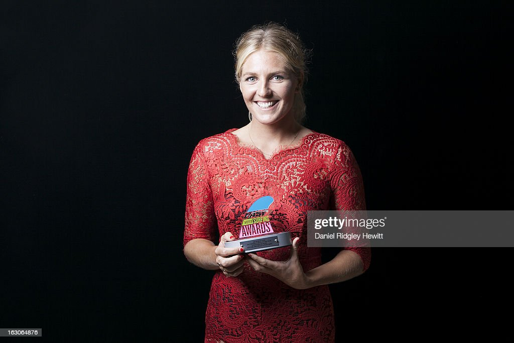 <a gi-track='captionPersonalityLinkClicked' href=/galleries/search?phrase=Stephanie+Gilmore&family=editorial&specificpeople=761948 ng-click='$event.stopPropagation()'>Stephanie Gilmore</a> of Australia with her 2012 Wave of the Year Award Trophy at the 2013 ASP World Surfing Awards on February 28, 2013 in Surfers Paradise, Australia.