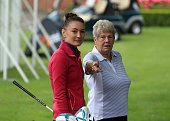Stephanie Hall and Ann Hesling of Sitwell Park Golf Club await their turn to play during the WPGA National ProAm North at Dunham Forest Golf and...