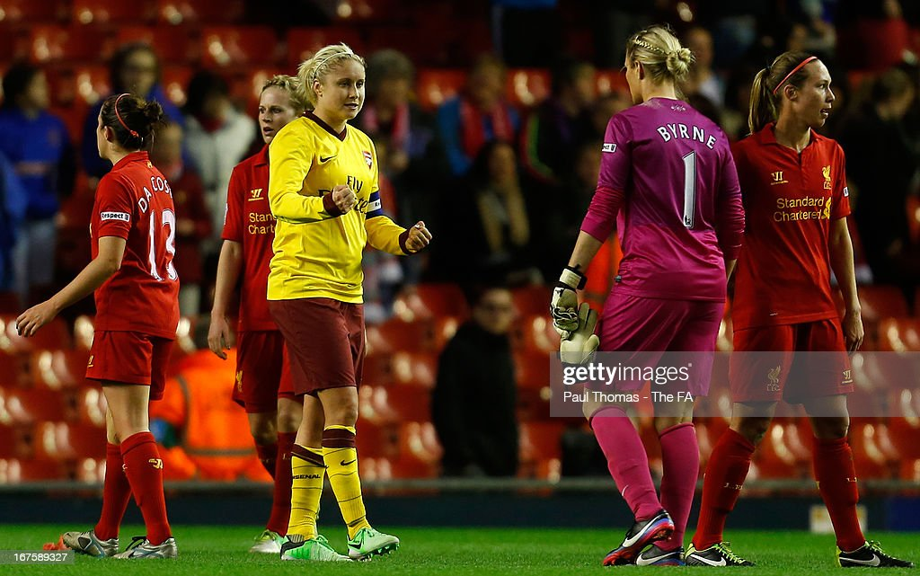 Stephanie Houghton (C) of Arsenal celebrates at full time of the Womens FA Cup Semi Final match between Liverpool Ladies FC and Arsenal Ladies FC at Anfield on April 26, 2013 in Liverpool, England.