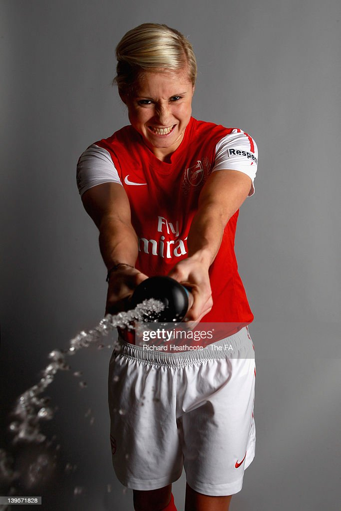 Stephanie Houghton of Arsenal Ladies poses for a picture during at FA WSL Ambassador Photoshoot at St Andrews Stadium on February 16 2012 in...