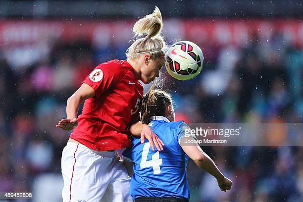Stephanie Houghton of England competes with Pille Raadik of Estonia during UEFA Women's Euro 2017 Qualifier match between Estonia and England at A Le...