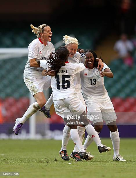 Stephanie Houghton of Great Britain is congratulted by team mates Kelly Smith of Great Britain Eniola Aluko of Great Britain and Ifeoma Dieke of...