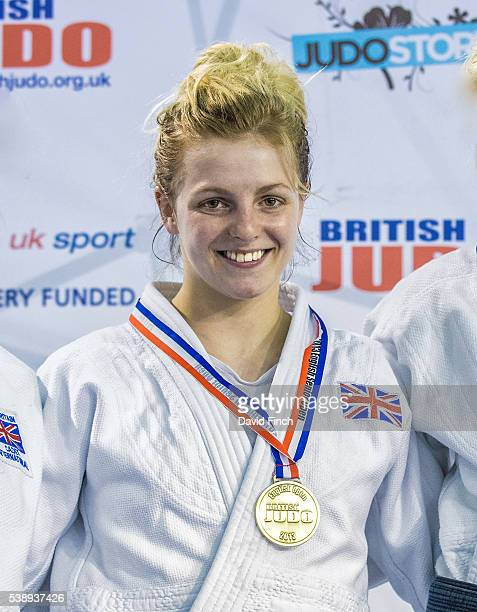 Stephanie Inglis of JudoScotland smiles proudly after being awarded the u57kg gold medal at the 2013 English Open Judo Championships on Sunday March...