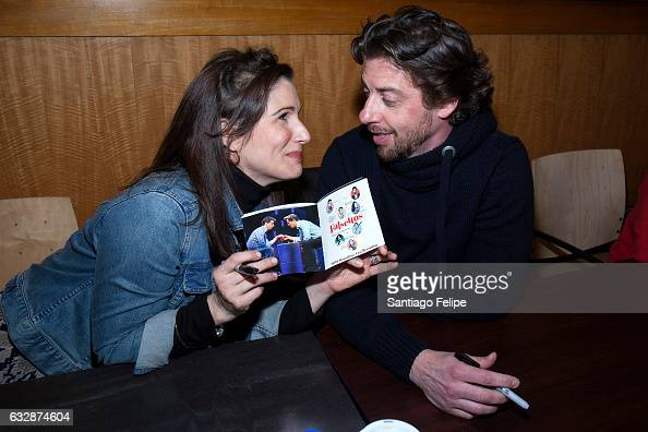 Stephanie J Block and Christian Borle attend 'Falsettos' Cast signing promoting the 2016 Broadway Cast Recording at Barnes Noble 86th Lexington on...