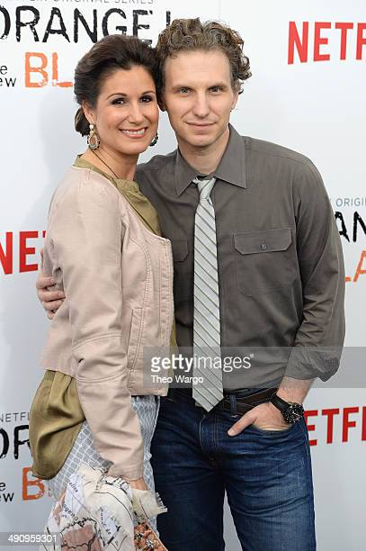 Stephanie J Block and Sebastian Arcelus attend the 'Orange Is The New Black' season two premiere at Ziegfeld Theater on May 15 2014 in New York City