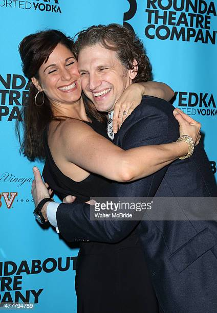 Stephanie J Block and Sebastian Arcelus attend the Roundabout Theatre Company's 2014 Spring Gala at Hammerstein Ballroom on March 10 2014 in New York...