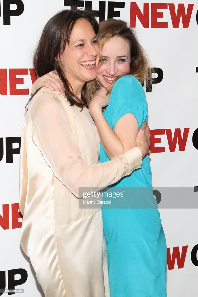 Stephanie Janssen and <a gi-track='captionPersonalityLinkClicked' href=/galleries/search?phrase=Zoe+Kazan&family=editorial&specificpeople=3953779 ng-click='$event.stopPropagation()'>Zoe Kazan</a> attend the World Premiere of 'Clive' at West Bank Cafe on February 7, 2013 in New York City.