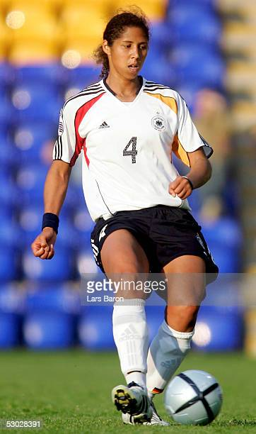 Stephanie Jones of Germany shoots the ball during the UEFA Women's Championship group B preliminary match between Germany and Norway on June 6 2005...