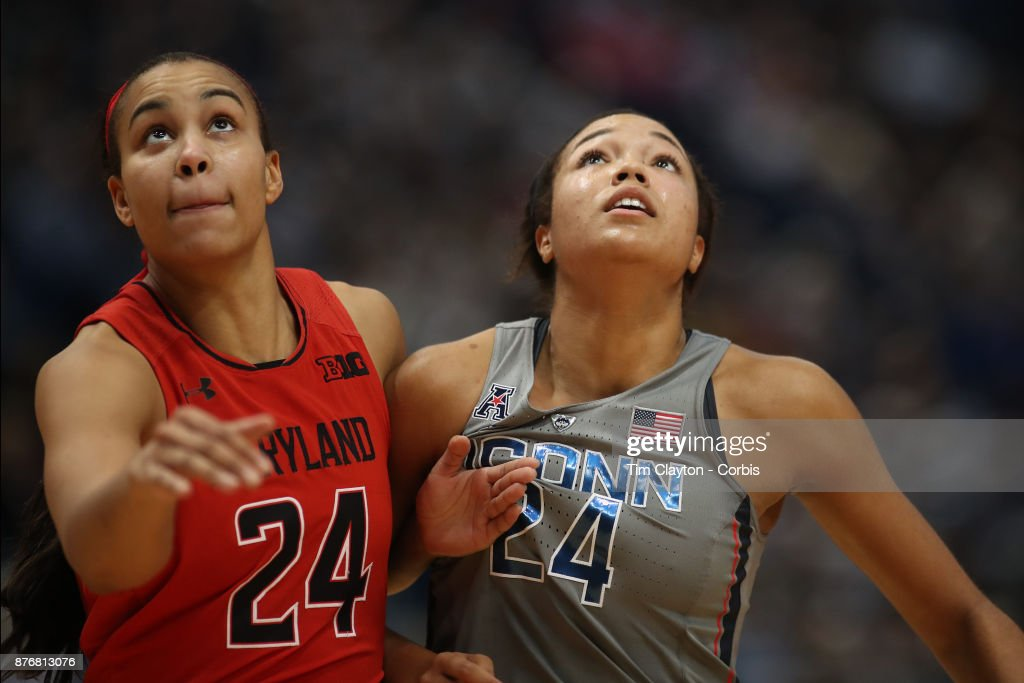 Stephanie Jones #24 of the Maryland Terrapins and Napheesa Collier #24 of the Connecticut Huskies jostle for position at a free throw during the the UConn Huskies Vs Maryland Terrapins, NCAA Women's Basketball game at the XL Center, Hartford, Connecticut. November 19th, 2017