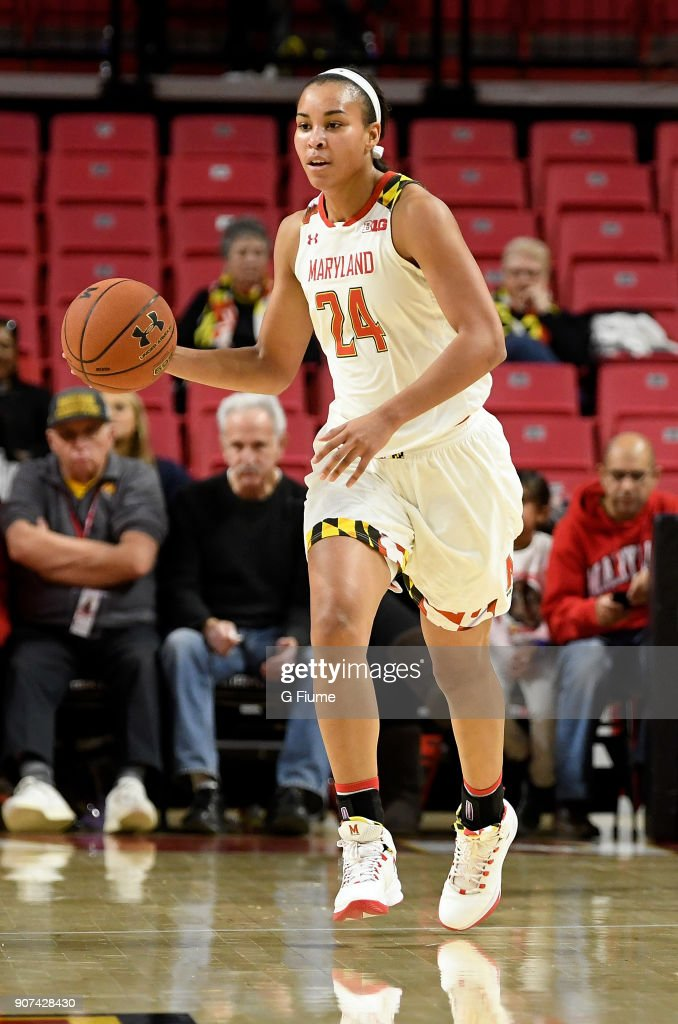 Stephanie Jones #24 of the Maryland Terrapins handles the ball against the Mount St. Mary's Mountaineers at Xfinity Center on December 6, 2017 in College Park, Maryland.