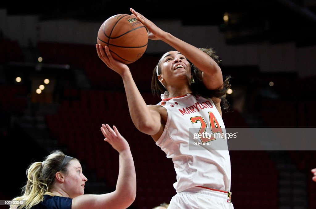Stephanie Jones #24 of the Maryland Terrapins shoots the ball against the Mount St. Mary's Mountaineers at Xfinity Center on December 6, 2017 in College Park, Maryland.