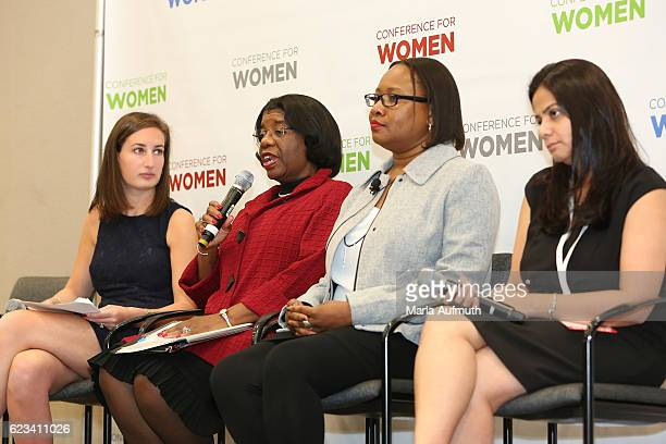 Stephanie Kaplan Lewis Major General Mary Saunders Andy Alford and Madhavi Bhasin speak onstage at the 'Think Differently Feeling Confident About...